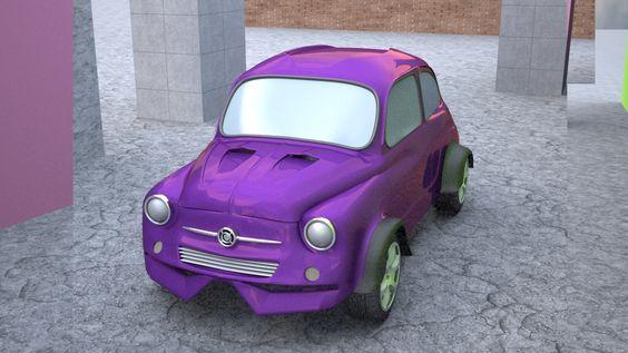 Fiat 600 tuneadito. 3ds Max. 2 días de modelado.