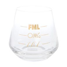 FML,  OMG and LOL Stemless Wine Glass
