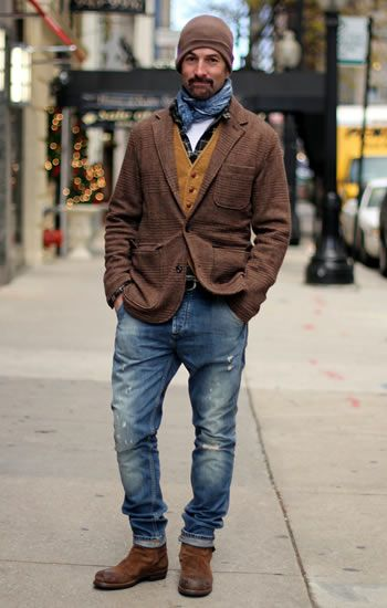 Jacket, cardigan, shirt, tshirt = yes. But his jeans don't ...