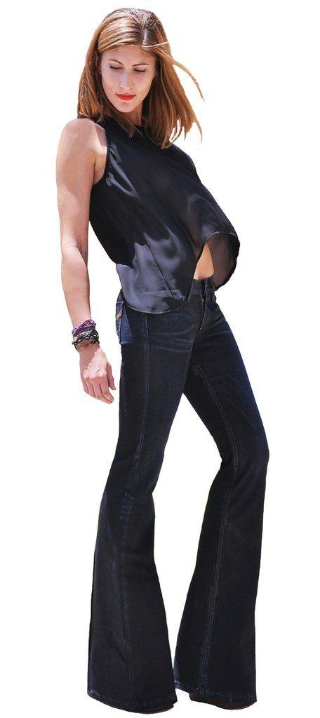 Women's Black Flare Jeans Wide-Leg Bell Bottom Jean - Double
