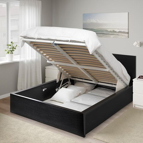 Malm Storage Bed Black Brown Full Double Storage Bed Black