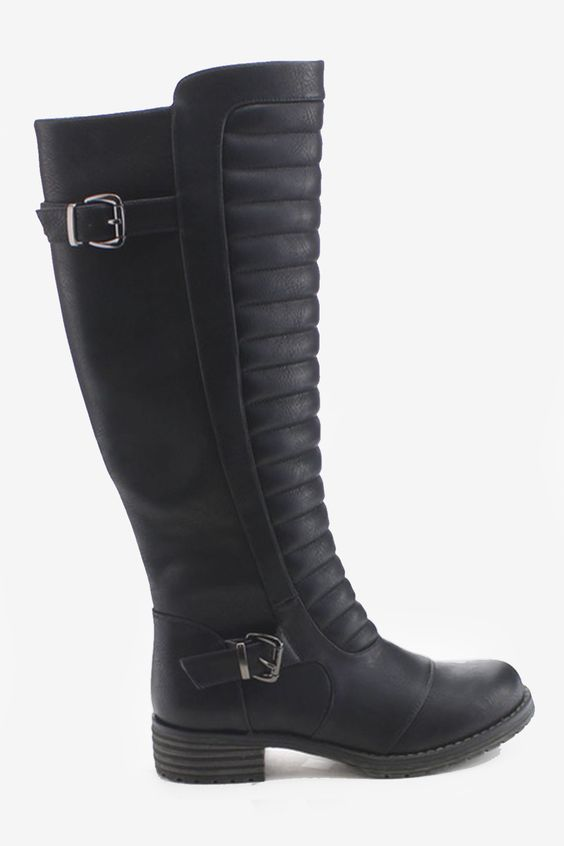 Side Zip Ribbed Knee High Riding Boots
