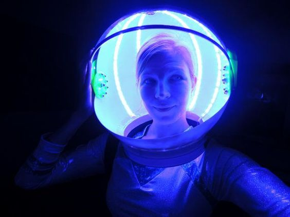 Use Glow Necklaces for a super cool space helmet! https://glowproducts.com #glowsticks #Halloween