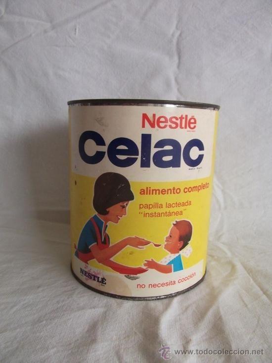 bote metalico lata nestle celac papilla lacteada instantanea 800 g. (Botellas, Cajas y Envases - Cajas y Cajitas Metálicas)