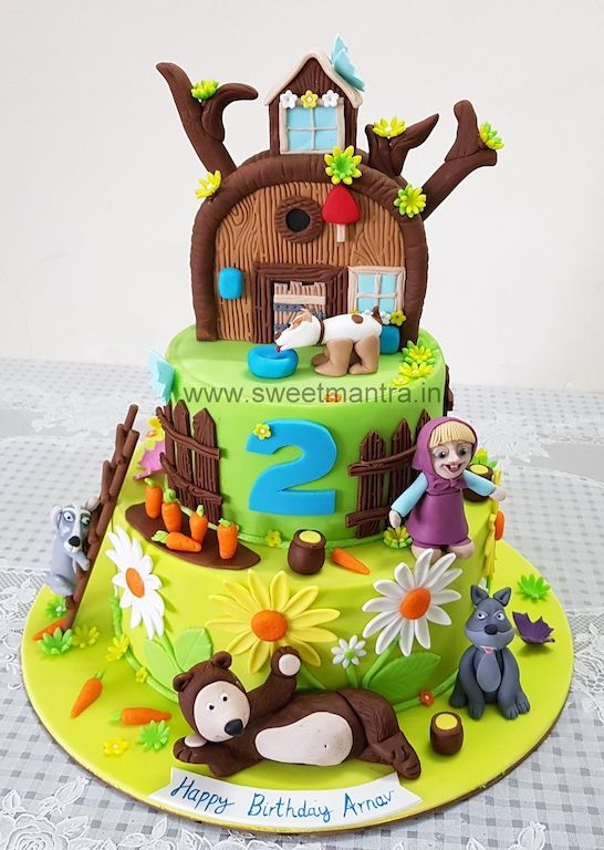 Masha And Bear Theme Customized 2 Layer Fondant Cake For Girl S 2nd Birthday At Pune Girl Cakes Cake Home Delivery Themed Cakes