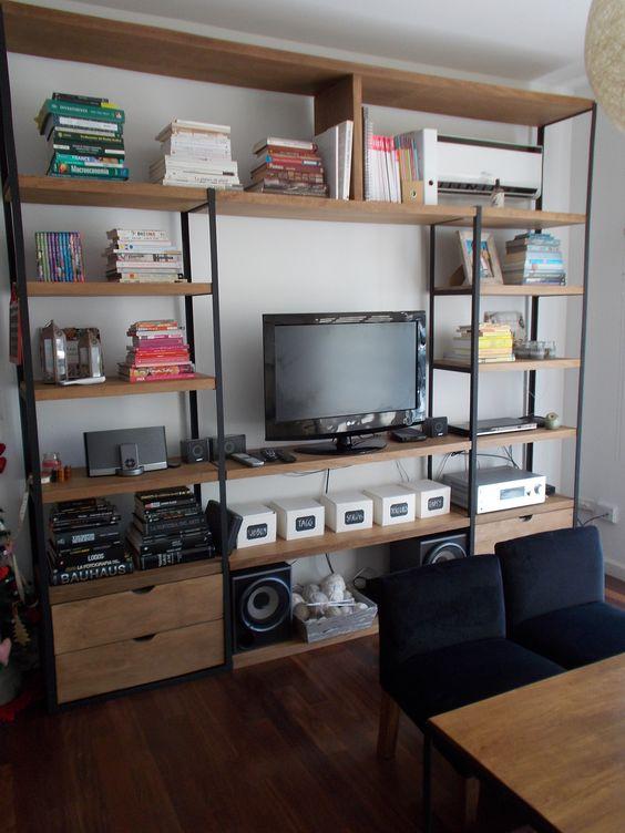 Biblioteca hierro y madera hierro y madera pinterest for Muebles industriales madera y hierro