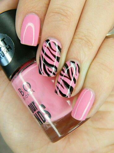 Pink zebra striped nails