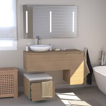 Meuble de salle de bains neo imitation ch ne leroy - Plan de travail rouge leroy merlin ...