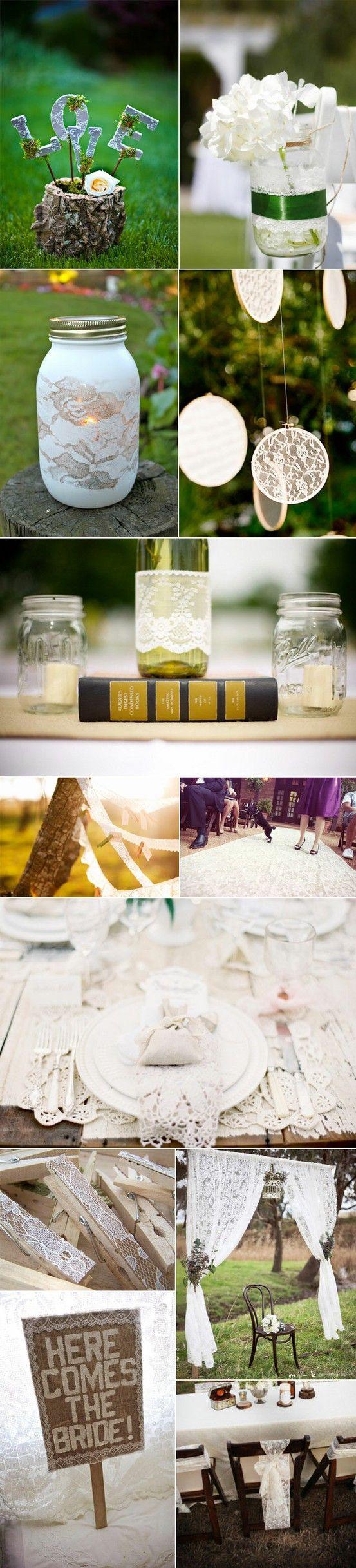 DIY lace wedding decorations.