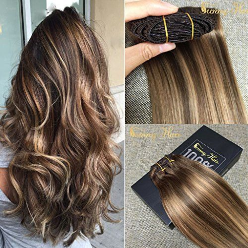 #Sunny #Dip and Dye Ombre Clip in Human Hair #Extension 22 Inches Remy Full Head Brown to Blonde Remy Clip in  Full review at: http://toptenmusthave.com/best-human-hair-extensions/: