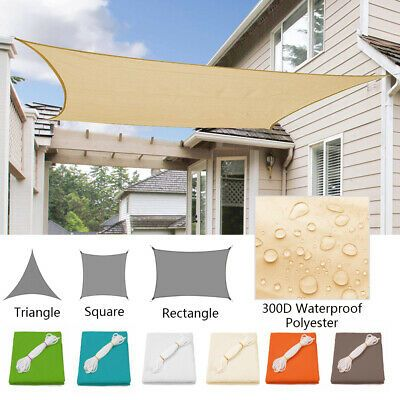 1x Waterproof Shade Sail With Ropes And D Rings Rectangle Size Color Green Blue Khaki White Beige Or Shade Sail Sun Sail Shade Waterproof Shade Sails