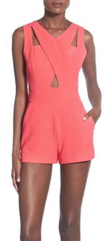 Cutout Detail Sleevless Romper in Coral