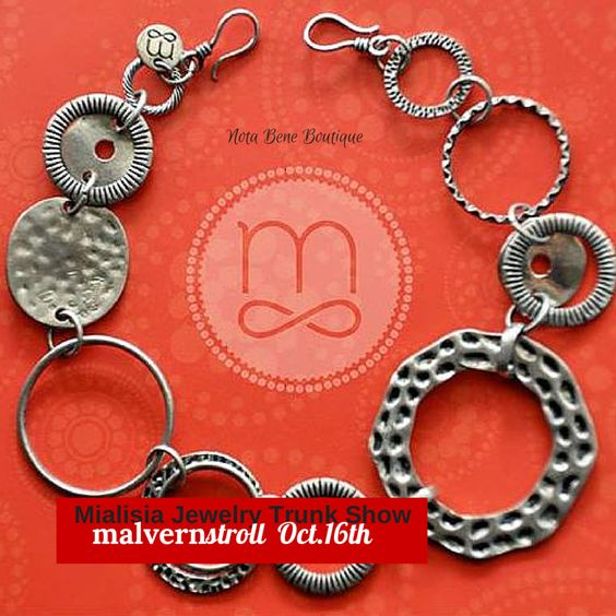 Mialisia #jewelry Trunk Show during the #MalvernStroll Thursday, Oct 16th #silver #artisan @notabeneboutiqu