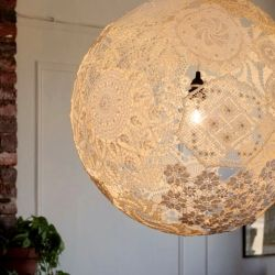 lamp made entirely with vintage doilies