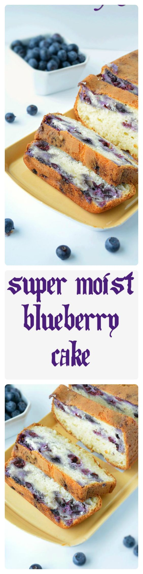 A super moist blueberry cake recipe that is loaded with sweetness of fresh blueberries and is bursting with flavor. #blueberry