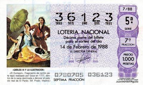 Décimo Del Sorteo Extraordinario De Lotería De San Valentin Celebrado El 14 De Febrero De 1988 Coleccionismo Loteria Col Lotería Nacional Lotería Sorteo
