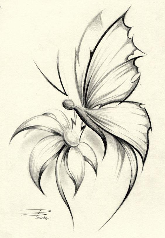 Butterflies On Flower Skectches | Butterfly Flower by *davepinsker on deviantART