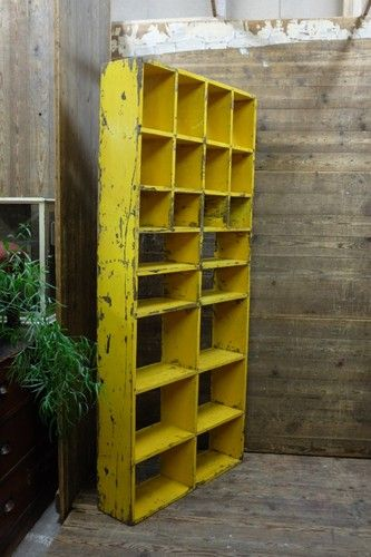LARGE RECLAIMED INDUSTRIAL PIGEON HOLE CABINET STORAGE FOLK INDUSTRIAL SALVAGE | eBay