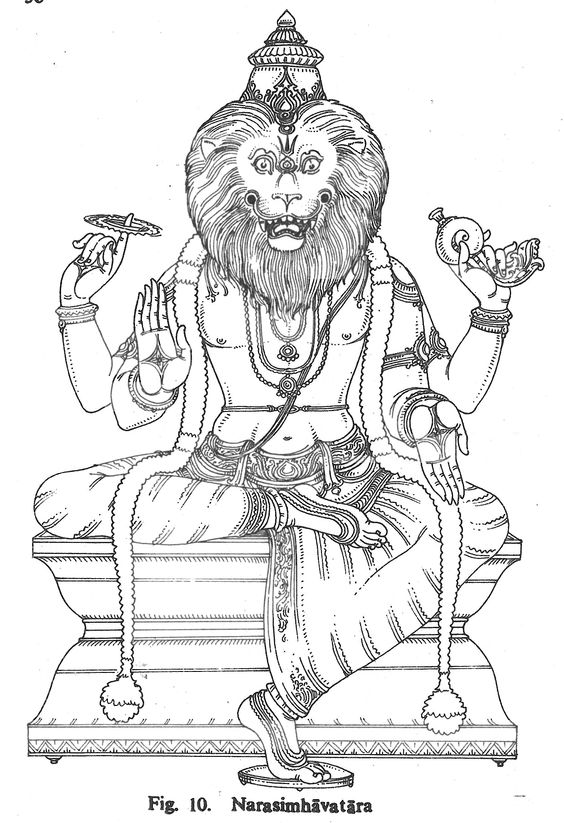 Narasimhavatara hindu gods coloring book pinterest for Hindu gods coloring pages