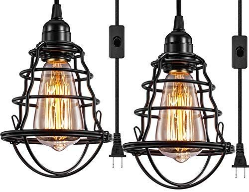 Innoccy Industrial Plug In Pendant Light Vintage Hanging Cage Pendant Li With Images Industrial Ceiling Light Fixtures Flush Mount Ceiling Lights Industrial Ceiling Lights