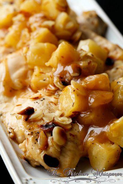 Baked Almond Pineapple Chicken, boneless chicken, one dish recipes, potluck dish, pot luck dish, buffet food, teriyaki chicken bake, epicurious