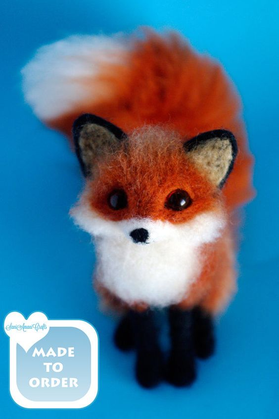 * MADE TO ORDER * RED FOX * MINIATURE * Size: SMALL / size ranges from 4 to 6 inches (10 cm to 15 cm) *size represents minimum and maximum item