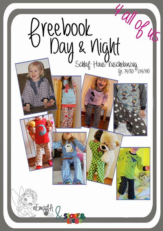 """Schlafanzug / Hausanzug / Jogginganzug, Jogginghose + Oberteil für Babys, Jungs und Mädchen -  74-140, Freebook """"Day & Night"""""""