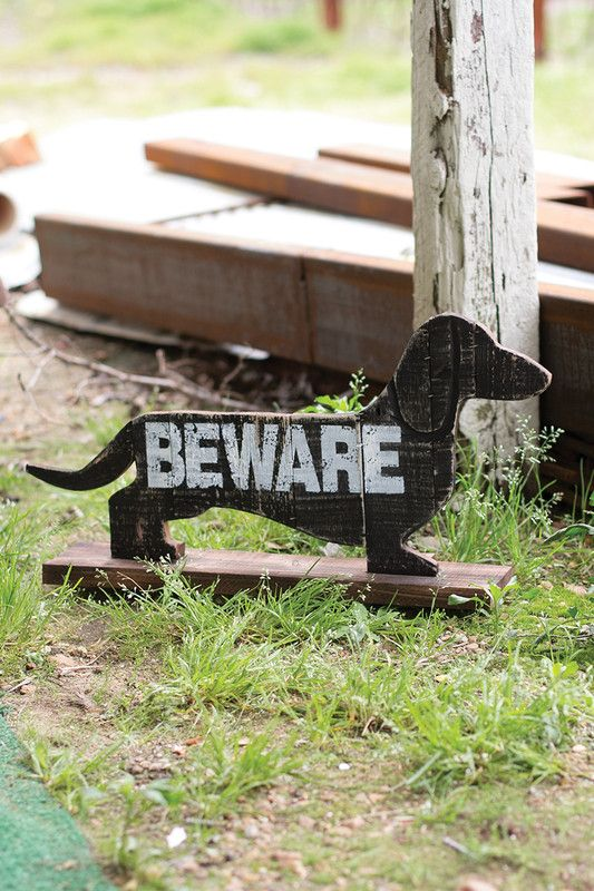 recycled wooden beware of the dachshund: