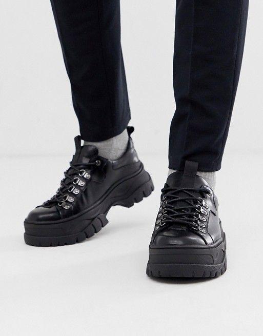 ASOS DESIGN trainer shoes in black faux