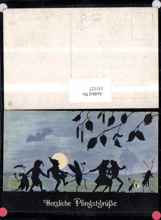 151127 Pfingsten Scherenschnitt Tanzende Zwerge Käfer Frösche B Mondschein | eBay, $10.40
