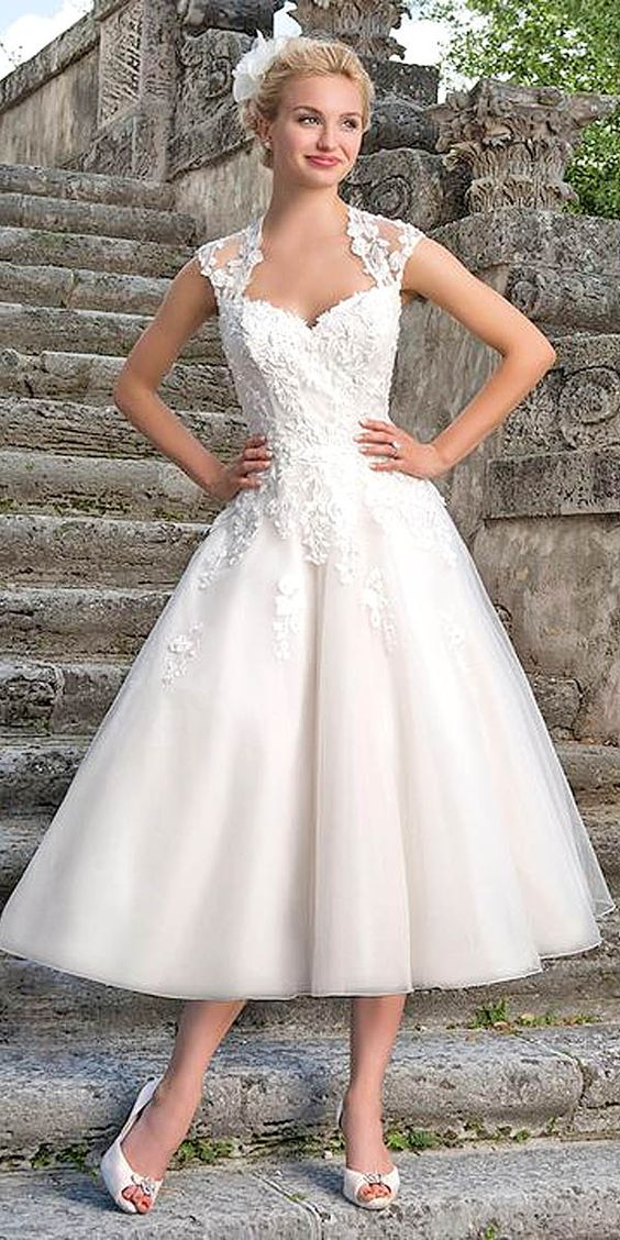 Gallery tea length wedding dresses via sincerity for Silver tea length wedding dresses