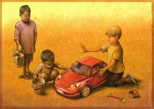 Zengin Fakir Cocuklar Illustrasyonlar Cizim Illustrasyon