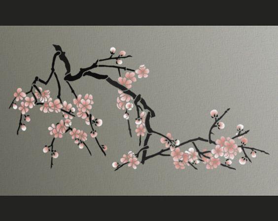 Pochoir fleurs de cerisier japonais pochoir grosse branche pour murs bricolage home decor - Branche de cerisier japonais ...