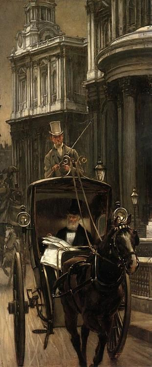 """""""Going to the City"""" (1879.)    Artist: James Tissot (French Painter, 1836-1902)"""