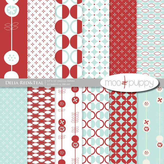MooandPuppy Digital Paper - Red and Teal