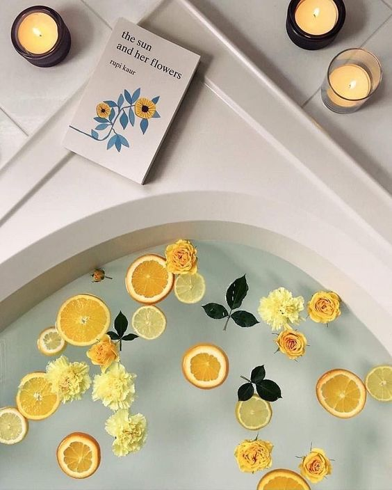 Time is now  #relaxing bath #bathroom #fruits #smells #beautiful #summervibes #aesthetic #flowers #live #love #create #inspiration #dentelle
