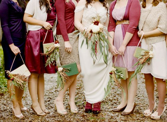 So this is the feel I want to go for. Notice we have a different color scheme, but what I love here is the array of textures and individuality of each bridesmaid. Also, an important note: I am not asking you to buy the exact items pictured here. These are merely the styles that catch my eye and fit my vision. You may already have these items in your closet, if so, by all means, use them! But....maybe treat yourself to 1 new piece that makes you feel incredible...cause...we're getting…