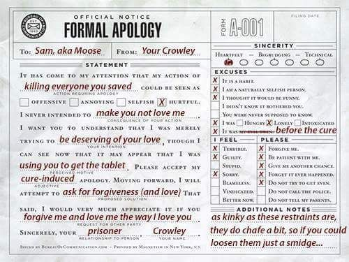 """Crowley's """"formal apology"""" to Sam. lol"""