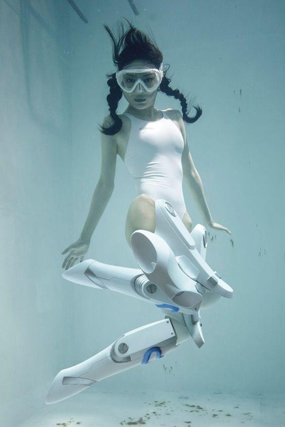 japanese girls underwater in knee-high mecha-socks