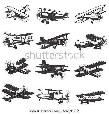 Set Of Vintage Airplanes Icons Aircraft Illustrations Design Element For Logo Label Emblem Sign Vector I Airplane Icon Vintage Airplanes Vintage Aircraft