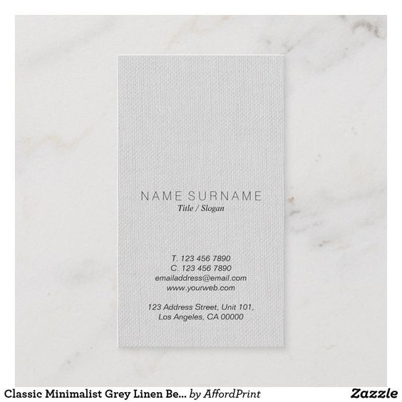 Classic Minimalist Grey Linen Beauty Vertical Business Card Zazzle Com Vertical Business Cards Classic Business Card Business Card Modern