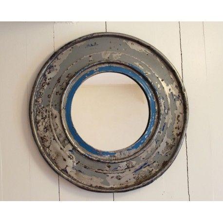 Miroir hublot rond double de ramsa 5 en f ts recycl s avec for Miroir rond 30 cm