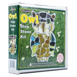 "Create garden fun for yourself or a loved one with this Owl Stepping Stone Kit! This amazingly fun, amazingly simple kit includes everything you need to design and create your very own mosaic stepping stone. Best of all, the reusable mold allows you to make 1 or 100 stepping stones! Just mix, pour, decorate, and remove your one-of-a-kind stone!    	     	Contents:    	  		1 - 8"" Reusable Mold  	  		3 1/2 - Stepping Stone Mix  	  		Earthtone Glass Mix and Bright Gems  	  		1 - Wooden Mixing…"