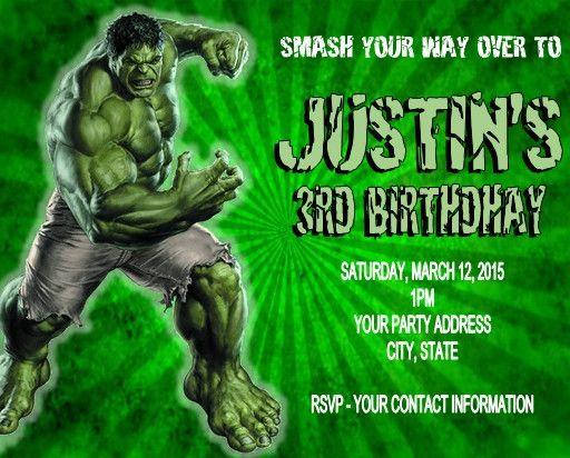 The Incredible Hulk Birthday Party Invitations Custom Personalized Hulk Birthday Hulk Birthday Parties Incredible Hulk Birthday Party