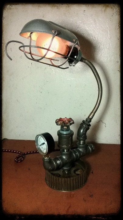 Upcycled Repurposed Reused Camshaft Gear Machine Dieselpunk Trouble Cage Lamp