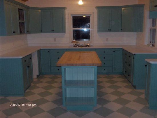 Teal cabinets, Painted kitchen cabinets and Kitchen floors on