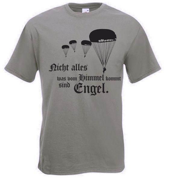 Fallschirmjäger T-Shirt Engel - Nicht alles was vom Himmel kommt sind Engel in der Farbe oliv / mehr Infos auf: www.Guntia-Militaria-Shop.de
