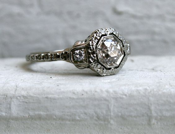 RESERVED - Stunning Antique 18K White Gold Three Stone Pinkish Diamond Engagement Ring - 0.65ct.. $2,450.00, via Etsy.