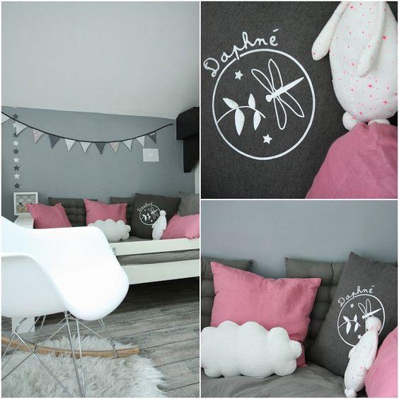 Chambre rose et gris d co chambre enfants pinterest for Chambre gris et rose