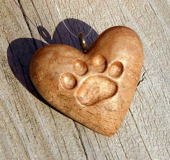 Heart wood carving cat paw print ornament pendant